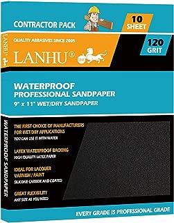 LANHU 120 Grit Sandpaper for Wood Furniture Finishing, Metal Sanding and Automotive Polishing, Dry or Wet Sanding, Multipurpose Sandpaper, 9 x 11 Inches, 10-Sheets