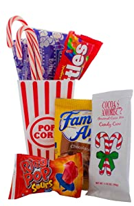 Movie Night Gift Baskets For Christmas- Popcorn, Hot Chocolate, Candy Cane, And Movie Theater Candy Gift Basket - Movie Snacks Care Package, Date Night or Family Night Gift