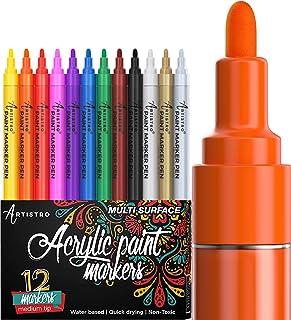 Paint Pens for Rock Painting, Ceramic, Porcelain, Glass, Wood, Fabric, Canvas. Set of 12..