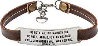 UNQJRY Religious Bracelets for Women Christian Leather...