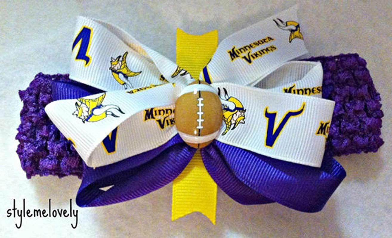 Minnesota Vikings Baby Girl Boutique Bow Crocheted Headband, Fits Newborn- Adult