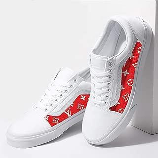 Vans White Old Skool x Red Pattern Custom Handmade Shoes By Fans Identity