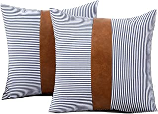 HONGUNIA Boho Throw Pillow Covers Farmhouse Striped Decorative Throw Pillows for Couch Living Room Faux Leather Stitching ...