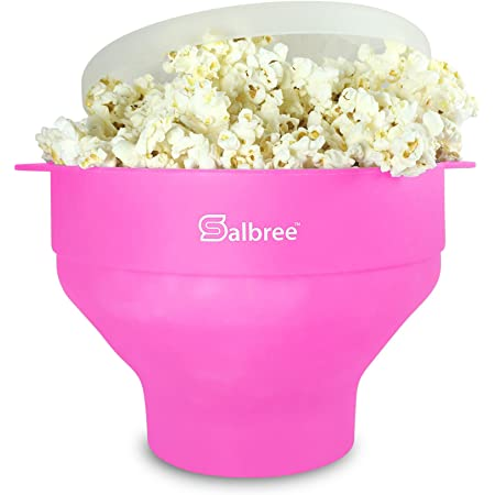 Original Salbree Microwave Popcorn Popper, Silicone Popcorn Maker, Collapsible Bowl - The Most Colors Available (Pink)