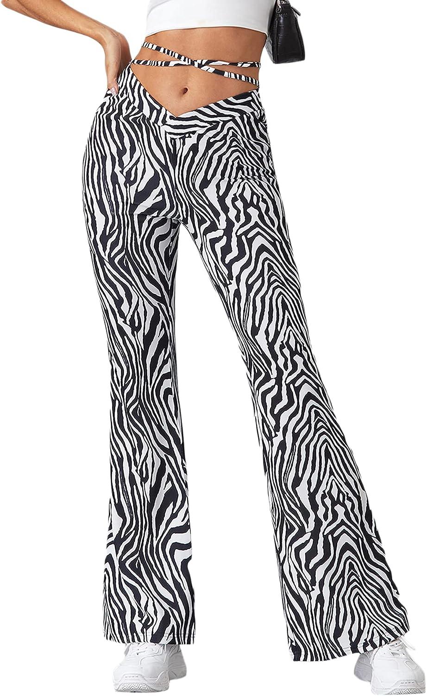 WDIRARA Women's Cut Out Wide Leg Flare Pants High Waist Stretch Self Tie Solid Long Pants