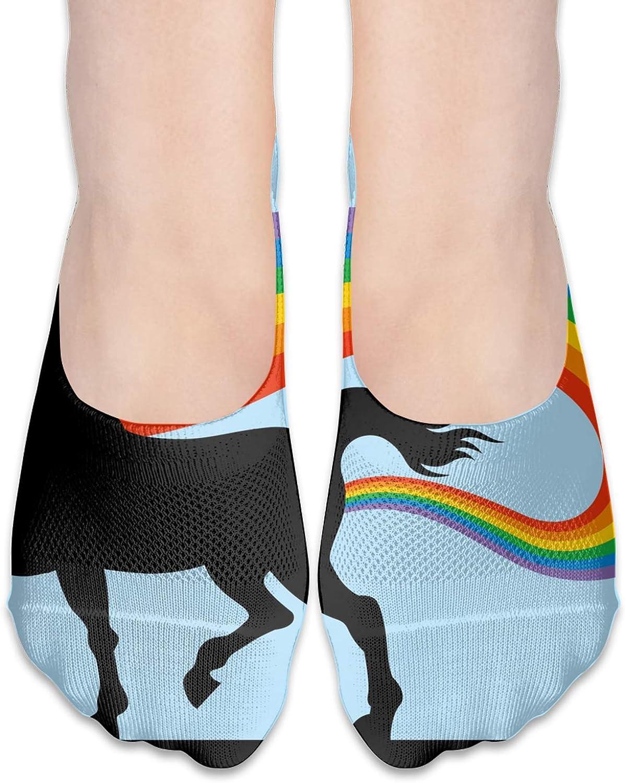 Magical Unicorn Emitting Comfortable Boat Socks-Sweat Wicking Non-Slip Socks Leisure Sports Deodorant Foot Socks