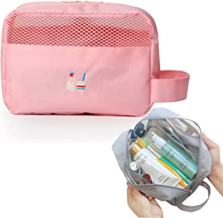 HOYOFO Travel Toiletry Bag Portable Makeup and Cosmetics Organizer Storage with Handle, Pink