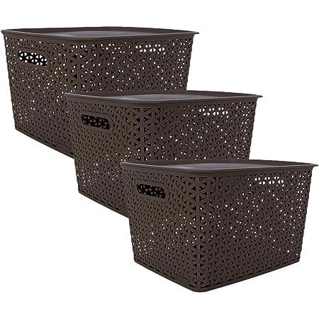 Bel Casa Royal Basket Large Pack of 3 With 3 Lids Multipurpose Plastic Storage Baskets - Dark Brown