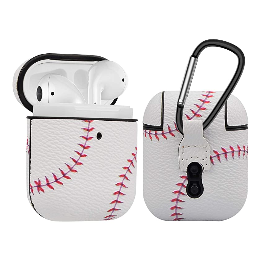 Njjex AirPods Case, AirPods PU Leather Hard Case, Portable Protective Shockproof Headset Box Earphone Cover with Carabiner/Keychain Compatible with Apple AirPods 1st/2nd Charging Case [Baseball]
