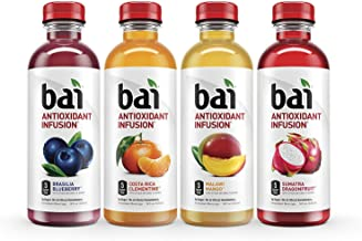 Bai Flavored Water, Antioxidant Infused Drinks, 18 Fluid Ounce Bottles, 6 each of Brasilia Blueberry, Costa Rica Clementine, Malawi Mango, Sumatra Dragonfruit (24ct, Rainforest Variety Pack)