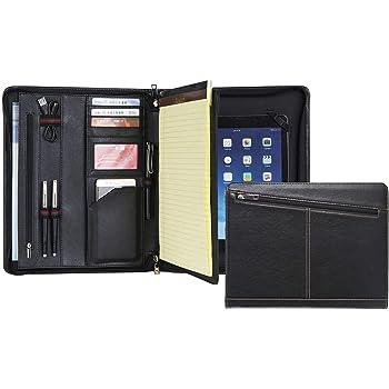 IPad professionelle Schreibmappe aus Kunstleder f/ür Damen und Herren Konferenzmappe A4 Premium Aktenmappe mit doppel Rei/ßverschluss und 11 Zoll Fach f/ür Tablet