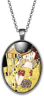 """Collana cabochon Klimt""""il bacio"""" - Regalo di Natale per idea regalo moglie - San Valentino- regalo di compleanno - argento..."""