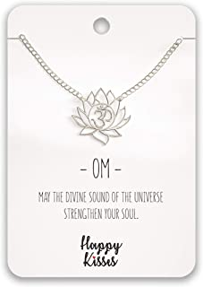 Yoga Lotus Flower Necklace with OM Symbol – Cute Lotus Pendant Charm – with Empowering Message Card -Silver Plated