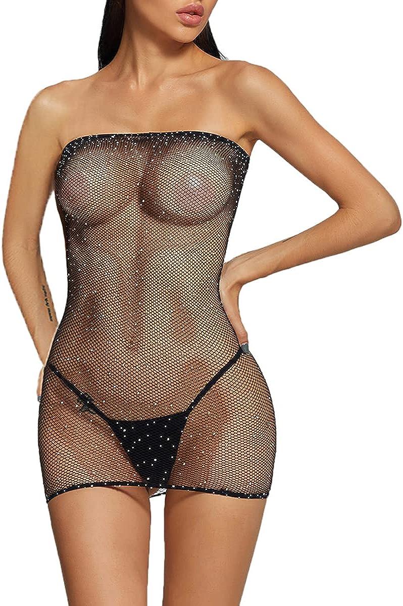 Abberrki Womens Sexy Sparkle Rhinestones Tube Dress Fishnet Mini