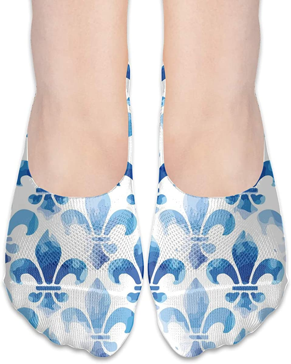 No Show Socks Women Men For Fleur De Lis Blue Sea Flats Cotton Ultra Low Cut Liner Socks Non Slip