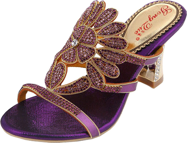 Salabobo Womens Sexy Fashion Slip On Chunky Heel Rhinestone Leather Sandals MX-T006