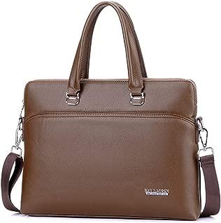 SGJFZD Tote Men's Handbag Cross Section Large Capacity Men's Bag PU Travel Bag Leather Bag Shoulder Slung PU Leather Bag Business Computer Briefcase Retro Tide Bag (Color : Khaki)