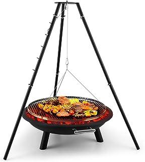 blumfeldt Arco Trino - Black Edition, Feuerschale, 70cm durchmessende Grillrost, extra Dickes Stahlblech, Edelstahl, Sicherheitskante an der Grillfläche, hohe Mobilität, schwarz