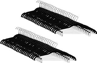 Amazon Basics Velvet Skirt Hangers with Clips, 50-Pack, Black