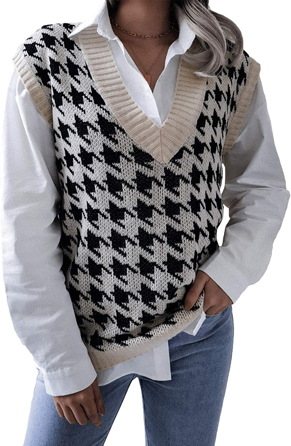 Gihuo Women's V Neck Loose Pullover Houndstooth Sweater Vest