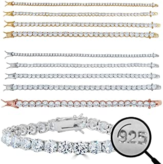 Harlembling Real Solid 925 Sterling Silver Mens Or Womens Tennis Bracelet - 14k Yellow & Rose Gold Finish Over Solid 925 S...