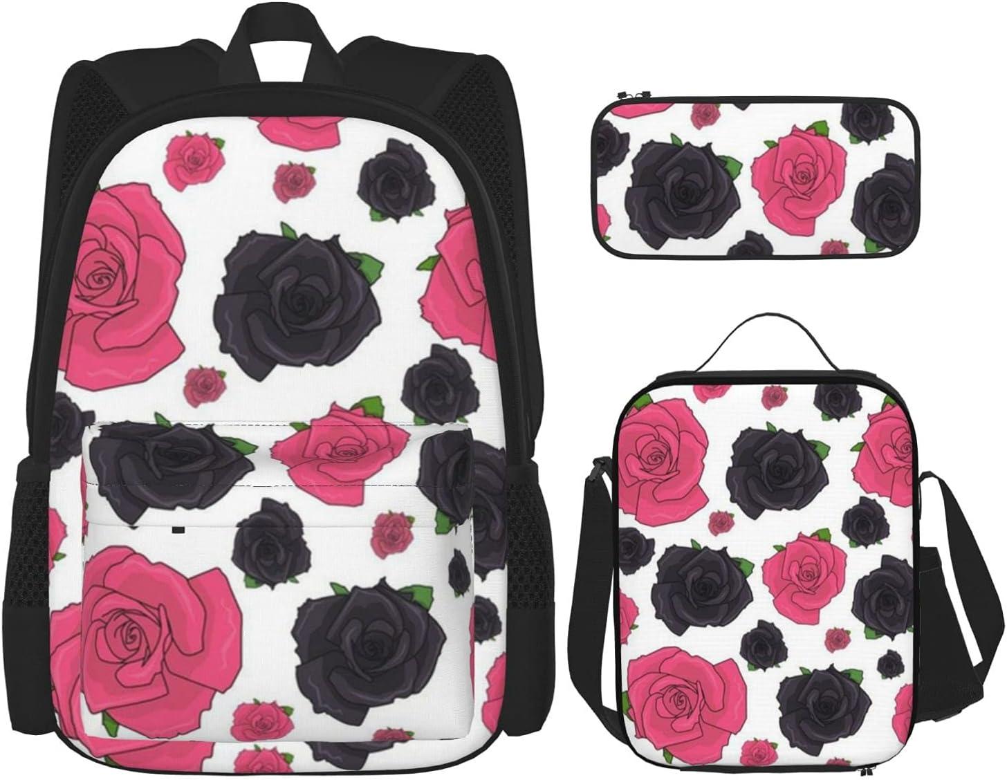 Dallas Mall Roses Pattern Black Ranking TOP19 School Bags Lunch 3pcs Box Pencil Combi Case