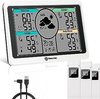 Gesponserte Anzeige – Geevon DIY Wetterstation mit 3 Fernbedienungssensoren, digitale Thermometer-Hygrometer, Temperatur F...