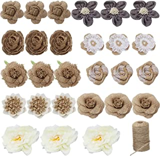 Burlap Flowers Set, 27PCS 9 Styles Natural Handmade Rustic Lace Rose and 1 Roll Jute Twine for DIY Arts Craft Valentine Gift Wedding Decoration and Floral Crafts Making, Durable Packing String-B