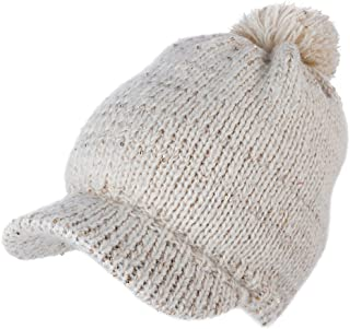 Jeff & Aimy Women's Acrylic Knit Visor Beanie Winter Newsboy Cap Fleece Lined