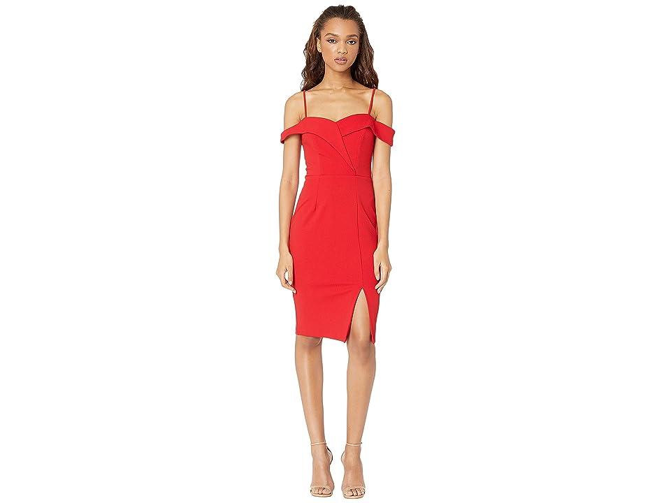 Bebe Off the Shoulder Slit Dress (Red) Women