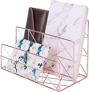 Simmer Stone Mail Sorter, Desktop Wire Holder for Letters Mails Books Files Brochures Postcards Makeups, Medium Size, 2 Slot, Rose Gold