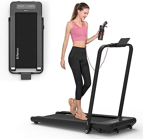 BiFanuo 2 in 1 Folding Treadmill, Smart Walking Running Machine with Bluetooth Audio Speakers, Installation-Free,Unde...