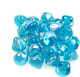 Reflective Fire Glass Gravel,Fire Gems,Fire Drops,Fire Glass Pebbles Stones Beads Chips for Fire Pit Fish Tank Aquarium Succulent Garden Decoration,20-25mm,610g/1.34lb (Diamond, Aquamarine)