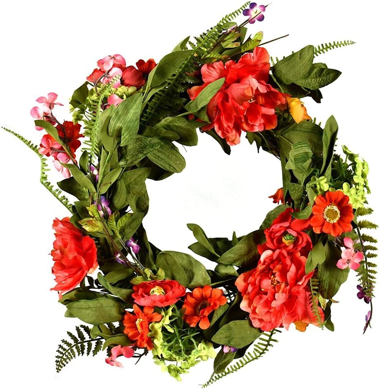 Vickerman FG180222 Coral, orange, and Green Mixed Floral Wreath