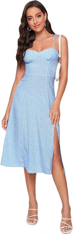 Floerns Women's Polka Dot Tie Shoulder Sleeveless Split Hem Midi Dress