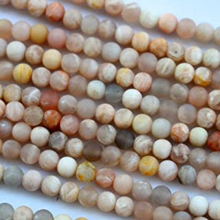 Tacool Natural Unpolished Moonstone Round Jewelry Making Gemstone Beads (4mm)