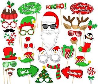 Amaoma Fotocall Photocall Accesorio Navidad Photobooth Props Navidad Foto Divertida Antecedentes Bigotes Gafas Pelo Accesorios Foto Props Fiesta de Navidad Suministros de Decoración (32 Piezas)