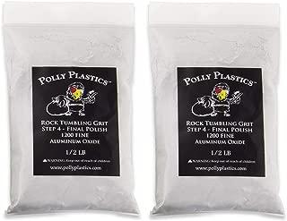 Polly Plastics Rock Tumbler Media Grit Refill, 1 lb Final Polish 1200 Fine Aluminum Oxide, Stage 4 for Tumbling Stones (2 Pack)