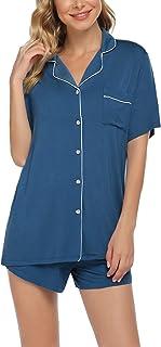 طقم بيجامة بأزرار سفلية للنساء بأكمام قصيرة ملابس نوم طية السترة ملابس نوم قطعتان من مجموعات الصالة S-XXL