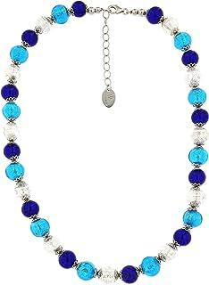 Venetiaurum - Collar de gargantilla para mujer con perlas de cristal de Murano originales y plata 925 - Joya Made in Italy certificado