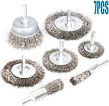 FPPO 7PCS Stainless Steel Wire Wheel Brush, Coarse Crimped Cup Brush and End Brush Kit