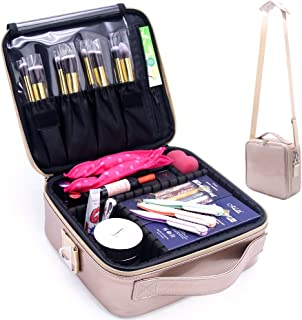 Travel Makeup Bag, Cosmetic Cases for Women and Girls Organizer, Make Up Cases, Train Case Box with Adjustable Dividers and Storage Portable Brush Holder for Make Up Toiletry Jewelry (Rose Gold)