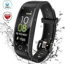 AGPTEK Pulsera de Actividad Inteligente Impermeable IP67 para Hombre y Mujer, C30 Reloj Deportivo con GPS, Monitor de Ritmo Cardíaco, Calorías y Sueño, Compatible con iPhone y Android, Negro