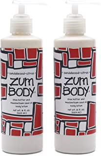 Zum Sandalwood-Citrus Body Lotion (Pack of 2) with Dandelion, Red Clover, Shea Butter, Aloe, Meadowfoam Seed Oil, Avocado,...