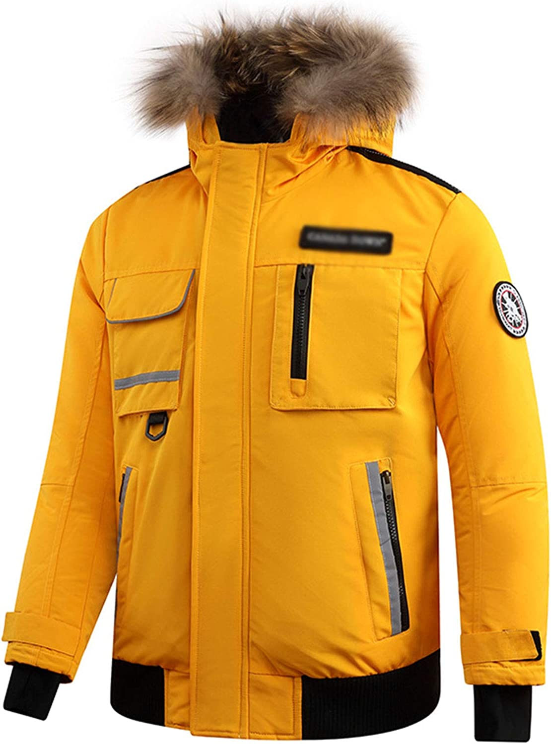 DUTUI Men's Winter Down Jacket, 80% White Duck Down Short Thick Down Jacket Casual Workwear Men's and Women's Warm Down Jacket,Yellow,4XL