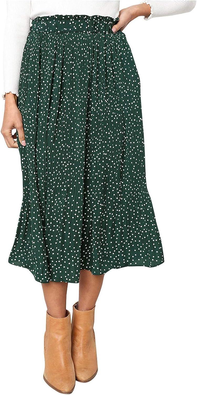 DILYluer Women's Polka Dot Pleated Skirt High Waist Maxi Swing Skirt Fashion Summer Skirt Casual Long Skirt Beach Skirt