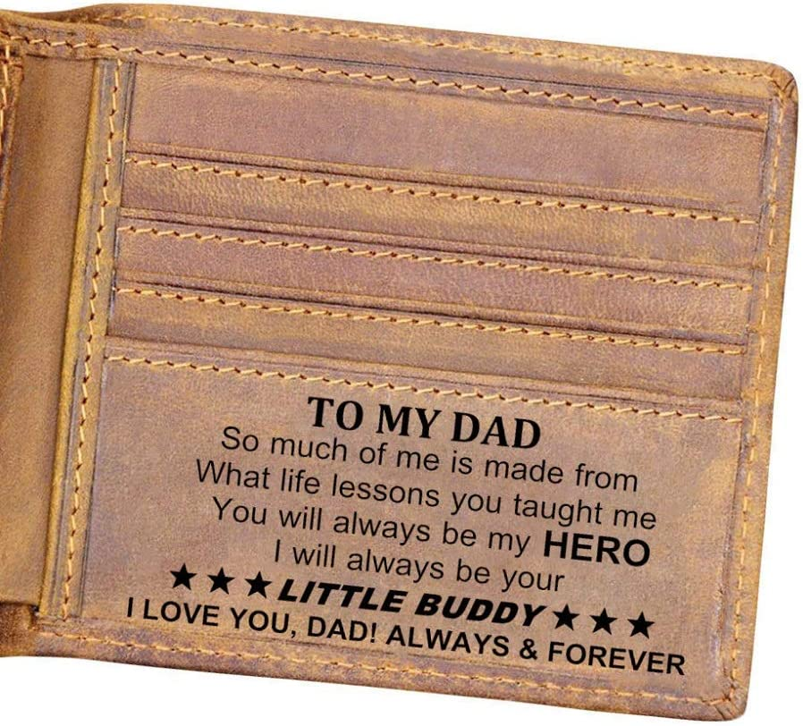 Customized Leather Front Pocket Wallet - Slim Wallet RFID Minimalist Credit Card Wallets - Personalized Gift (to Dad from Son)