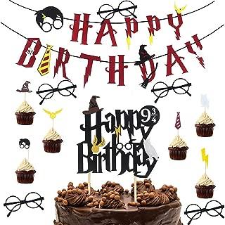 Decoracion de Fiesta Mago - WENTS 13 pieza Cumpleaños Banner Happy Birthday Gafas Harry Potter Niño Cupcake Topper para Fiesta de Cumpleaños Decoracion fiesta