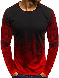 AopnHQ Men's T-Shirt, Men's Slim Casual Round Neck Gradient Long Sleeve Top
