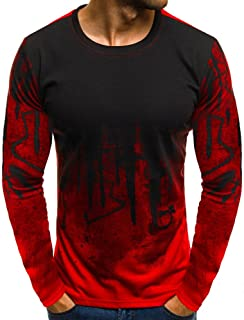 Mens Gradient T-Shirt, Color Long Sleeve Crewneck Muscle Long Sleeve Blouse Tee Shirt Top Sweatshirt